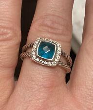 David Yurman Hampton Blue Topaz Petite Albion Ring with Diamonds, size 8