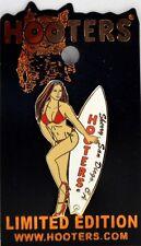 HOOTERS BINIKI CALENDAR GIRL SHERRY SAN DIEGO CA CALIFORNIA WHITE SURFBOARD PIN