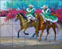 Horse Tile Backsplash Mikki Senkarik Equine Art Ceramic Mural MSA102
