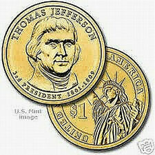 THOMAS JEFFERSON PRESIDENT DOLLAR San Francisco Mint 2007