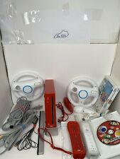 Nintendo Wii Red Console Mario Bundle TESTED 3 GAMES 2 WHEELS 2 CONTROLLERS