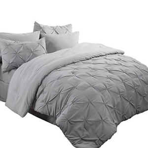 Bedsure King Size Comforter King Comforter Sets Bed in A Bag 8 Pieces Grey - 1 2