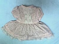 """TINY TEARS PINK & WHITE DRESS FOR 13-15"""" DOLLS,  QUALITY SEWING, VERY NICE!"""