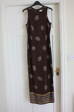 Principles Long Brown Silky Straight Dress size 10 Sleeveless Prom or Occasion