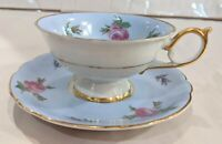 Vintage Royal Bayreuth Germany Us Zone Teacup And Saucer Set Blue With Roses