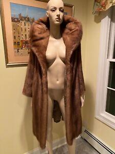 "Size 12 Petite Large 38"" Genuine Real Dark Blonde Light Brown Mink Fur Coat 12P"