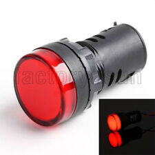 2PCS Red 22mm 12V Panel Mount LED Power Indicator Pilot Signal Light Lamp