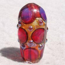 HOT FLASH Handmade Art Glass Focal Bead Flaming Fools Lampwork Art Glass SRA