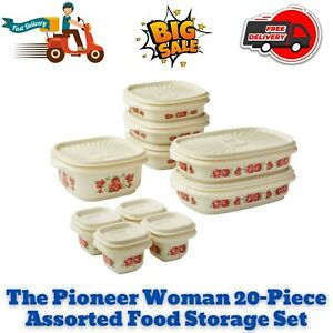 The Pioneer Woman 20-Piece Assorted Food Storage Set, Dishwasher Safe, BPA Free
