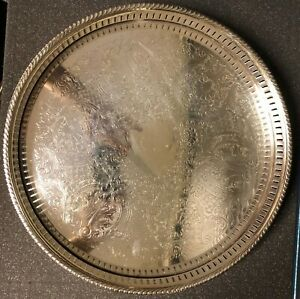 Silverplate tray with hallmarks