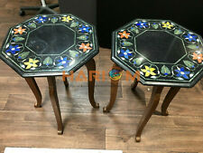 """18"""" Pair of Marble Side Coffee Table Top Multi Floral Inlay With 15"""" Stand B331"""