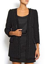 MANGO veste 3/4 tweed noir pailletée - Taille M