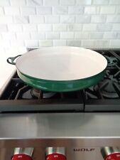 "Vintage Dansk Ihq France Kobenstyle Green Enamel Paella Pan Skillet 13.75"""
