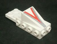 Lego Cockpit Nose 2x6, Print: V in Silver and Red [2336p36] - White x1 (BITES)