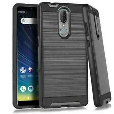 For Coolpad Legacy Shockproof Metal Brushed Hybrid Case + Glass Screen Protector