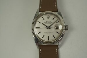 ROLEX 1603 DATEJUST STAINLESS STEEL w/ WHITE GOLD BEZEL DATES 1971 VERY NICE