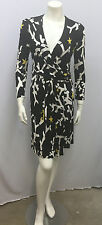 TOM FORD GUCCI WRAP DRESS BLACK WHITE YELLOW SIGNED SEAHORSE CORAL STARFISH 42 S