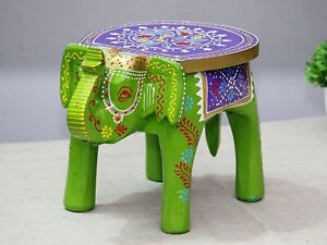 Indian Handmade Wooden Elephant Shape GREEN Multi Decor Side Table Statue Table