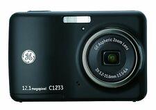 GE C1233 12MP Digital Camera 3X Optical Zoom ,2.4 Inch LCDAuto Brightness, Black