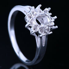 7x5mm Oval Mount Solid 10K White Gold Pave Antique Engagement Anniversary Ring