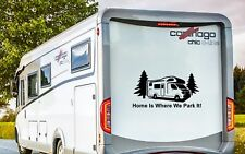 RV MOTORHOME CAMPER, HOME IS WHERE WE PARK IT, VINYL GRAPHICS STICKERS DECAL