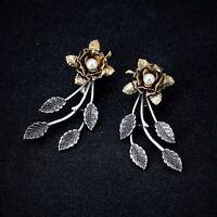 Earrings Nails Golden Flower Pearl Silver Sheet Fine Ear Jacket BB10