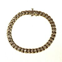 "14k yellow gold .80ct round diamond tennis bracelet 15.9g vintage estate 7 1/4"""