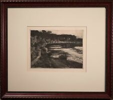 """Walter Leistikow Original Etching """"Forest Lake"""" 1898, FINE Condition & Framed!"""