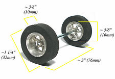 "TRADESHIP 1/24 Slot Car 3""Axle 5/40 ALUMINUM FIN WHEEL +DIAMOND TREAD AL-5 TIRES"