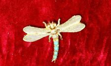 VINTAGE SILVER TONE BLUE LUCITE DRAGONFLY PIN