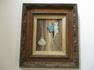 MYSTERY PAINTING Trompe L'oeil  MODERNISM VINTAGE SURREALISM STILL LIFE SHELL