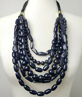 Chico's statement necklace navy blue acrylic cascade on twisted silk cords