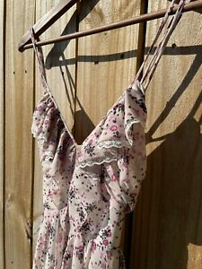 Boho floral long maxi dress by Guess Size 1 dusty pink Low Back Resize Straps