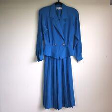 Vintage 1980s Andrea Gayle Bright Blue Blouse Skirt Suit Size 6 Career Work Wear