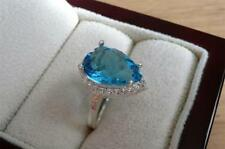 Aquamarine Engagement Lab-Created Sterling Silver Fine Rings