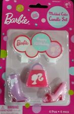 NEW! BARBIE GIRLS PINK MOLDED CANDLES CAKE TOPPER SET- BIRTHDAY PARTY SUPPLIES