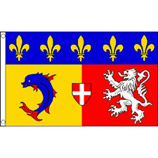 Rhone-alpes Flag 5ft X 3ft France French Region Banner With 2 Eyelets