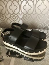 RKS Leather Footbed Sandals, With Straps And Stud Detailing In Black, Eur 39