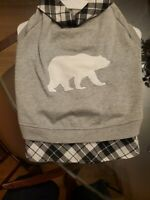 Dog Top Paw Polar Bear Gray & Black Sweatshirt, Coat, Jacket Size Large. NWT