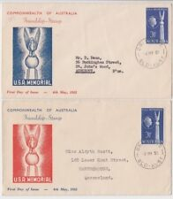 Stamps Australia 1955 USA friendship issue on pair Standard Stamp Co cachet FDC