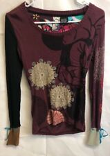 Desigual Disney Minnie Mouse Top Long Sleeve Graphic Knit Shirt Size XS
