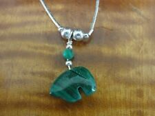 Bear Green Malachite Stone Beaded Chain Sterling Silver 925 Necklace