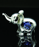 SWAROVSKI BLUE CRYSTAL ELEMENT STUDDED ELEPHANT FIGURINE ORNAMENT SILVER PLATED