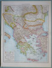 1881 MAP ~ BALKAN STATES ALBANIA GREECE RUMANIA WALLACHIA THESSALIEN