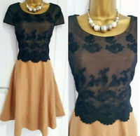 PHASE EIGHT FIT FLARE DRESS.SIZE 12.TAN WOOL.BLACK LACE.OCCASION FORMAL. Ex Cond