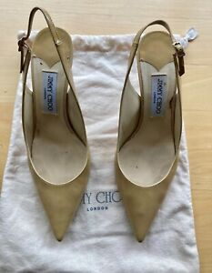 JIMMY CHOO Neutral Patent Leather 65 mm Sling Back - Size 39.5