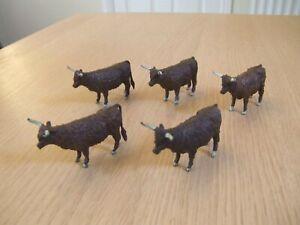 Vintage Britains farm animals Highland cattle x 5