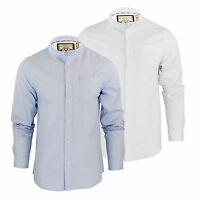 Mens Shirt Brave Soul Augustus Long Sleeve Oxford Cotton Grandad Collar