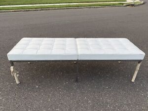 Authentic Florence Knoll Three Seater Barcelona Chrome Bench in White Leather
