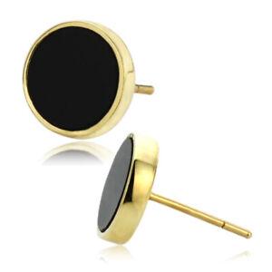 Women 14K Yellow Gold 8mm Round Simulated Onyx Bezel Stud Earrings